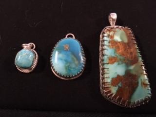 3 turquoise pendants