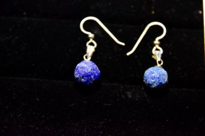 azurite blueberry earrings